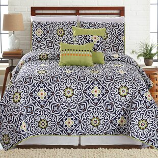 Barmore Printed 5 Piece Reversible Quilt Set