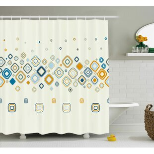 Addie Modern Vector Illustration of Stylish Repeating Geometric Shapes Pattern Single Shower Curtain