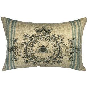 Odessa Bee Crest Linen Lumbar Pillow