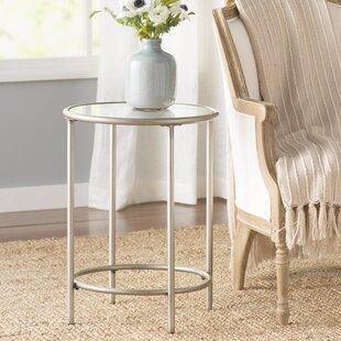 Harlan Round End Table - 1 Glass Shelf by Birch Lane?