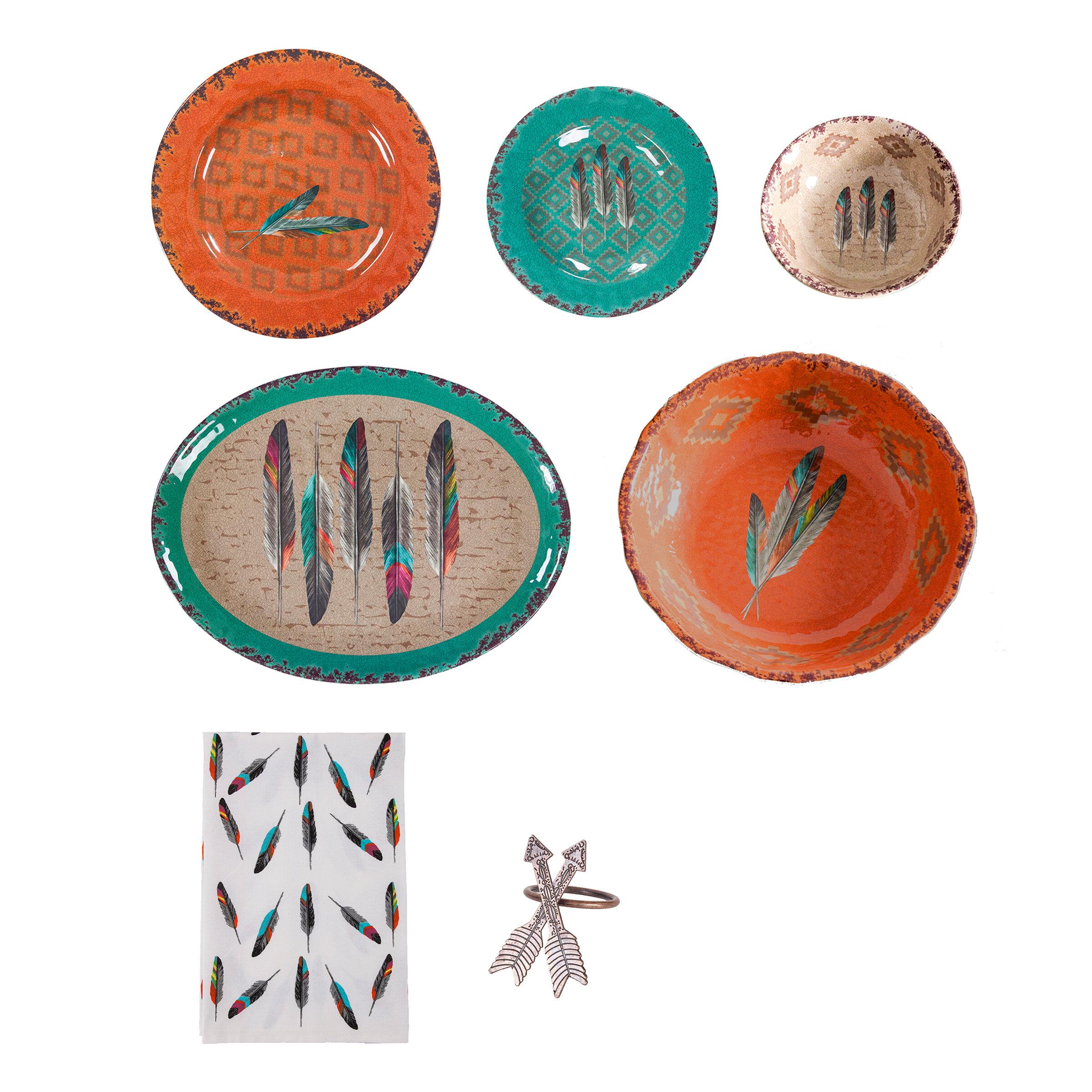 Foundry Select Feldman Feather 25 Piece Melamine Dinnerware Set Service For 4 Wayfair