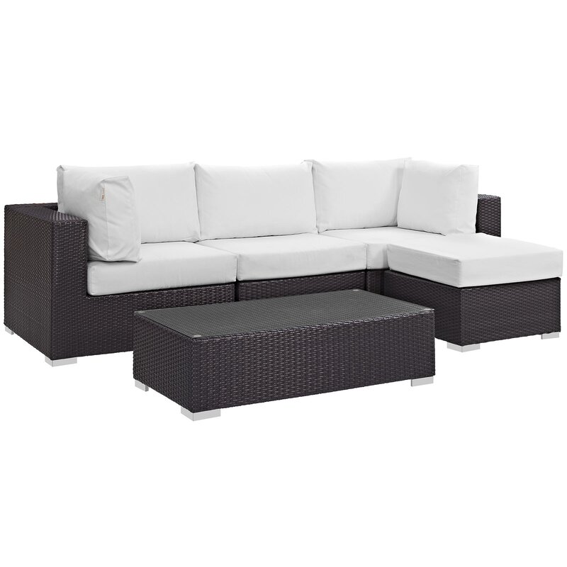 Sol 72 Outdoor  Brentwood 5 Piece Rattan Sectional Set with Cushions Fabric: White