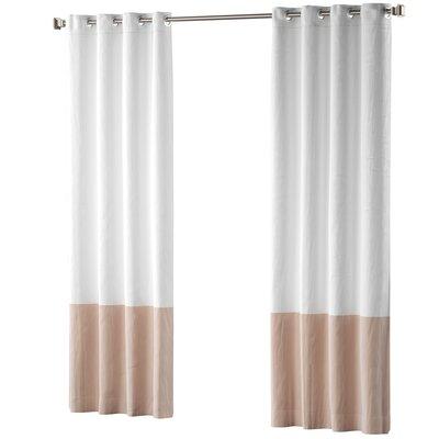 Mercury Row Claus Color Block Cotton Blend Striped Blackout Thermal Grommet Curtain Panels Color: Blush Pink