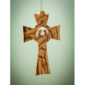 Olive Wood Cross with Holy Family Ornament