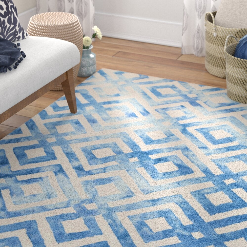 Latitude Run Girtrue Geometric Handmade Tufted Wool Cream Blue Area Rug Reviews Wayfair