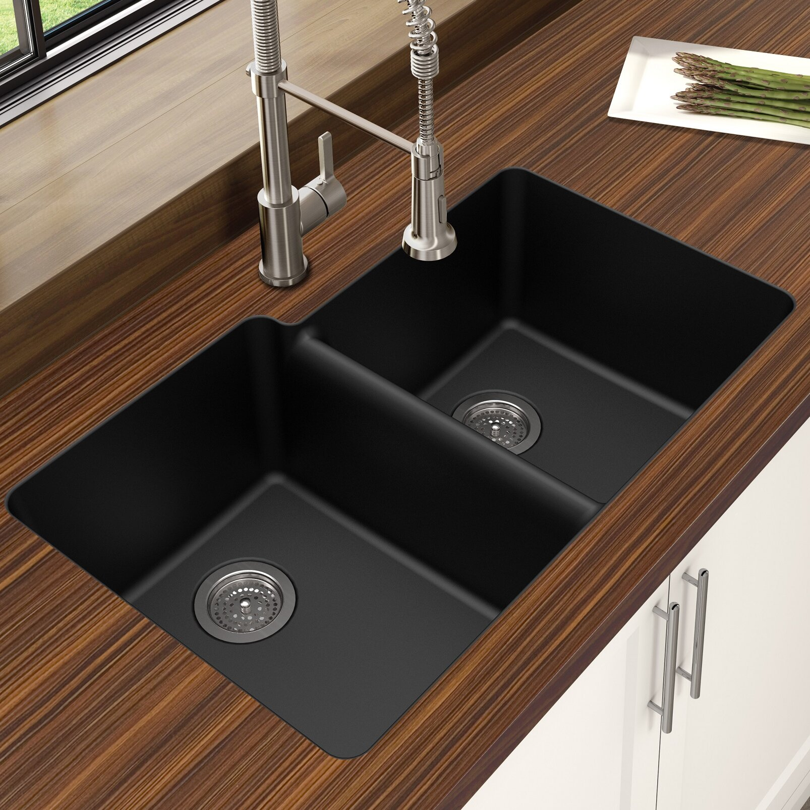 Winpro Granite Quartz Offset 33 L X 21 W Double Basin Undermount Kitchen Sink Reviews Wayfair