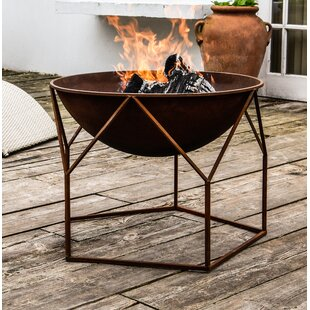 Brecken Iron Charcoal/Wood Burning Fire Pit By Freeport Park
