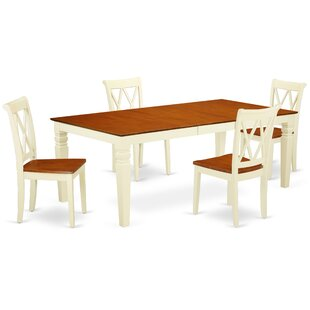 Kostka 5 Piece Extendable Solid Wood Dining Set