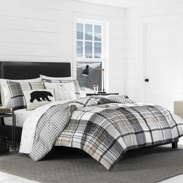 dp blue brody queen printed piece full set com plaid microfiber home mizone comforter kitchen amazon