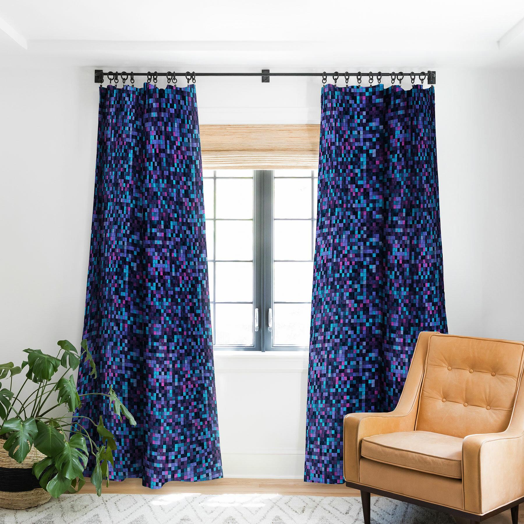 East Urban Home Kaleiope Studio Squares Geometric Room Darkening Rod Pocket Single Curtain Panel Wayfair