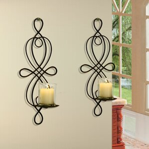 2 piece scroll iron sconce set set of 2