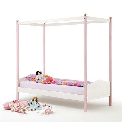 Himmelbett Amber  90 x 200 cm | Schlafzimmer > Betten > Himmelbetten | Rosa | Kiefer - Latex | Harriet Bee