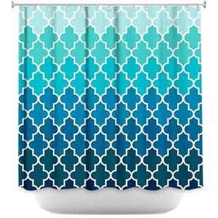 Lucchesi Aqua Ombre Quatrefoil Shower Curtain