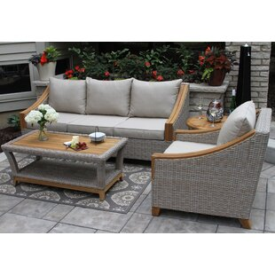 Kincaid 3 Piece Teak Sunbrella Sofa Seating Group with Cushions by Rosecliff Heights