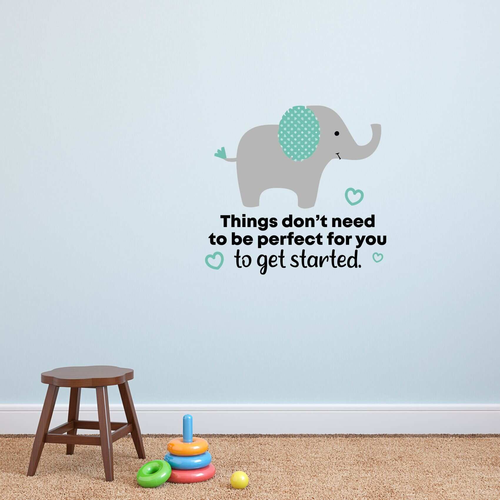 Zoomie Kids Get Started Elephant Vinyl Wall Decal Wayfair