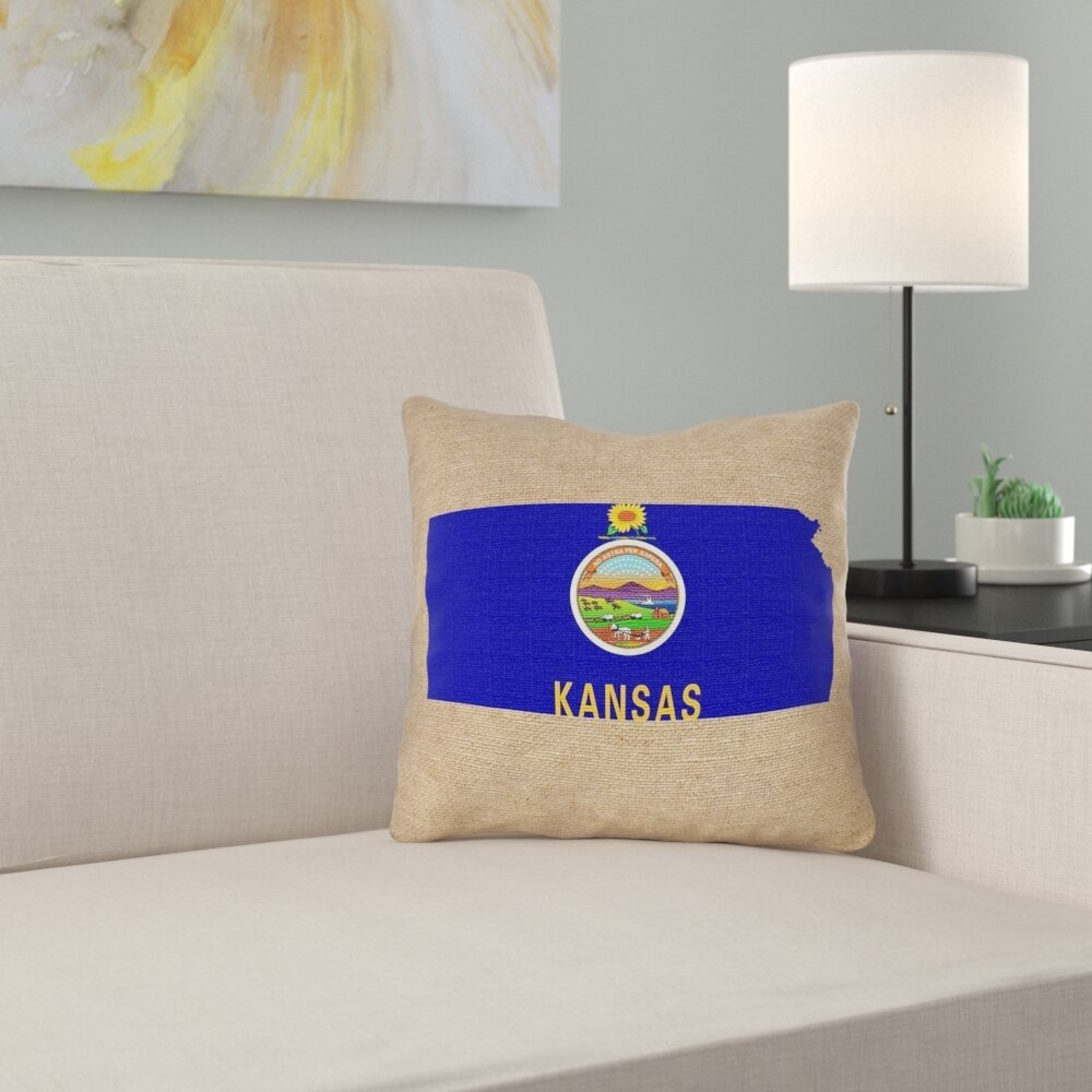 East Urban Home Centeno Kansas Flag Pillow In Spun Polyester Double Sided Print Pillow Cover Wayfair