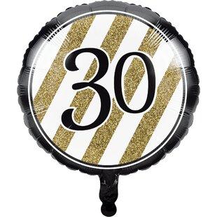Black and Gold 30th Birthday Mylar Balloon
