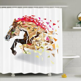 Horse Abstract Art Wild Animal Shower Curtain Set