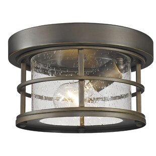 Breakwater Bay Crosswhite 1-Light Outdoor Flush Mount