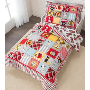 fire truck 4 piece toddler bedding set