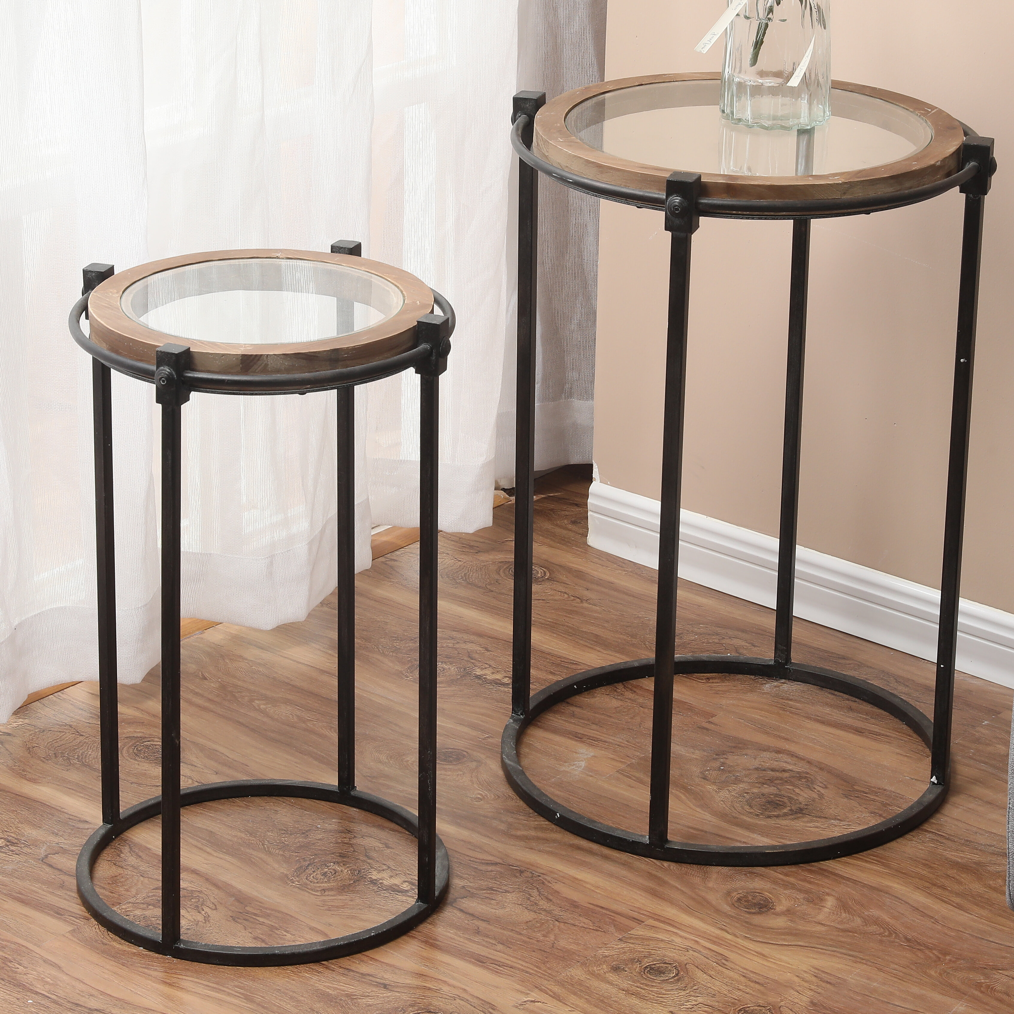 Small Aluminum End Table Side Accent Living Room Night Stand Bedroom Nesting Kit