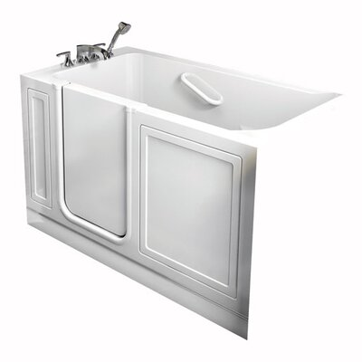 Acrylic 51 x 26 Walk-In Air/Whirlpool Bathtub with Air Spa and Drain American Standard Color: White, Drain Location: Right