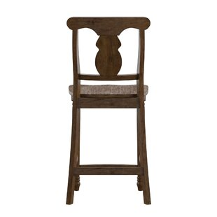 Butte Reclaimed Wood Napoleon Back 24 Bar Stool (Set of 2) Alcott Hill