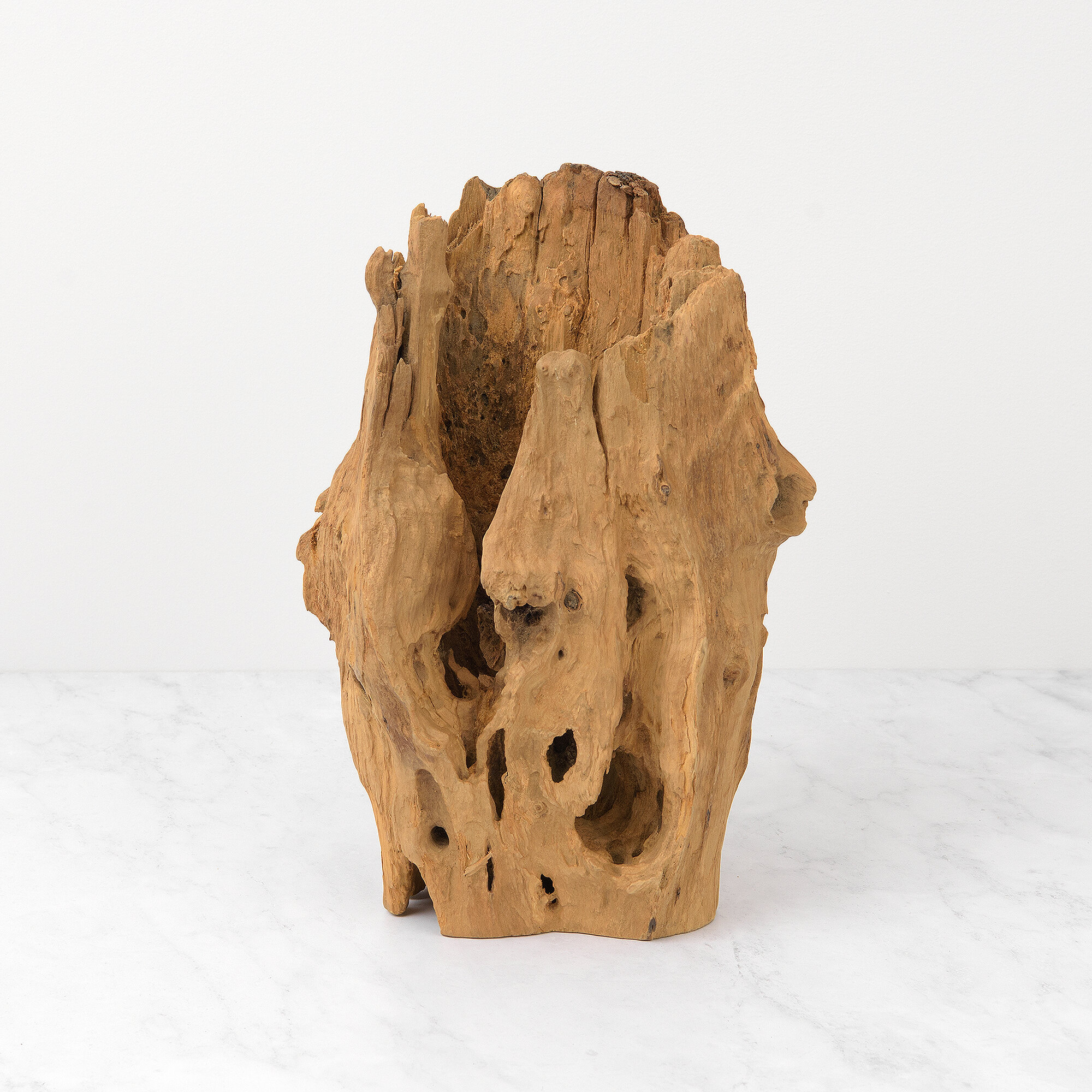 Millwood Pines Augustin Abstract Teak Table Vase Wayfair