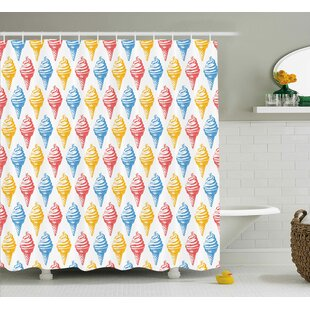 Katsikis Food Ice Cream Cones 50S Time Colored Drawings With Abstract Retro Like Design Image Single Shower Curtain