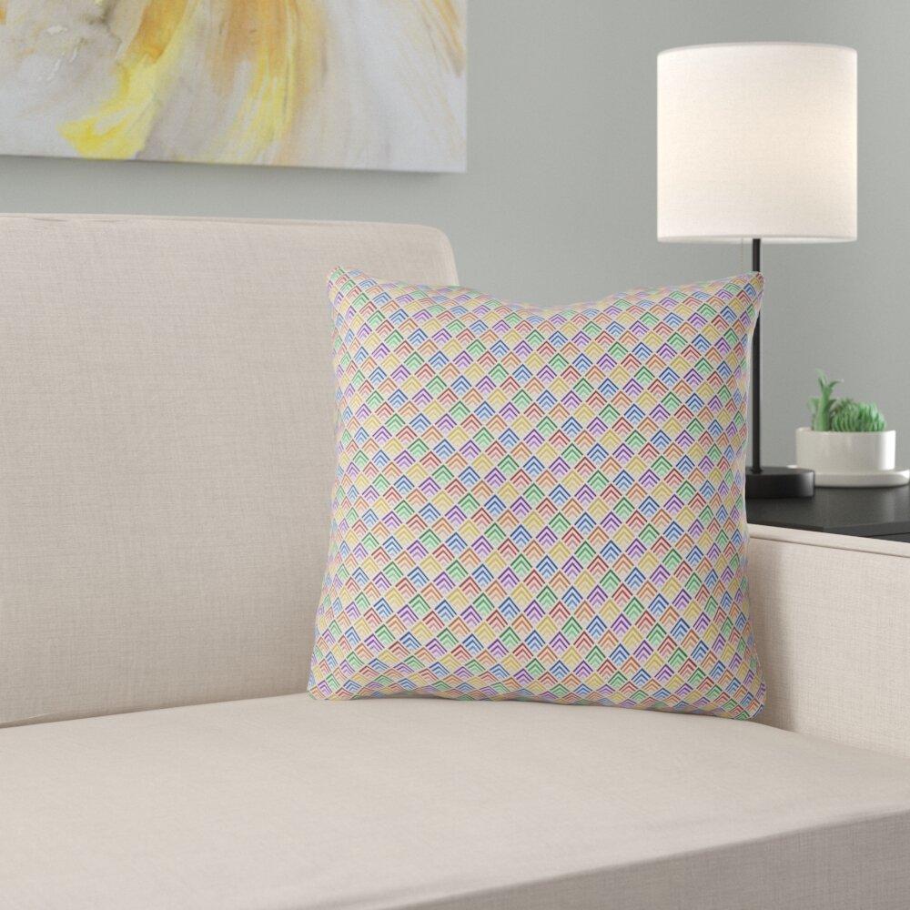 Latitude Run Avicia Rainbow Geometric Indoor Outdoor Throw Pillow Wayfair