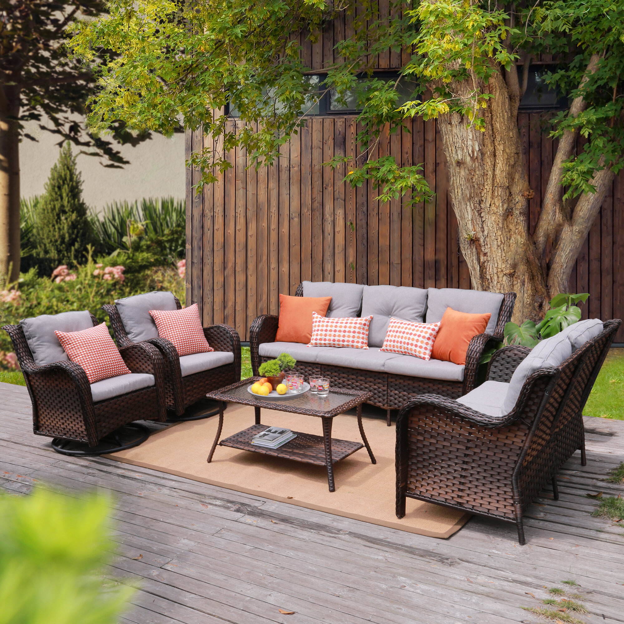 Winston Porter Guo 5 Piece Rattan Sofa Seating Group With Cushions Wayfair