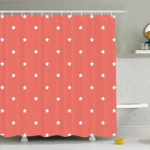 Minimalist Neat Star on Empty Outer Space Elements Greeting Design Image Shower Curtain Set