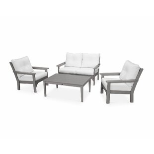 Vineyard 4 Piece Sofa Set With Sunbrella Cushions by POLYWOOD® Best Choices