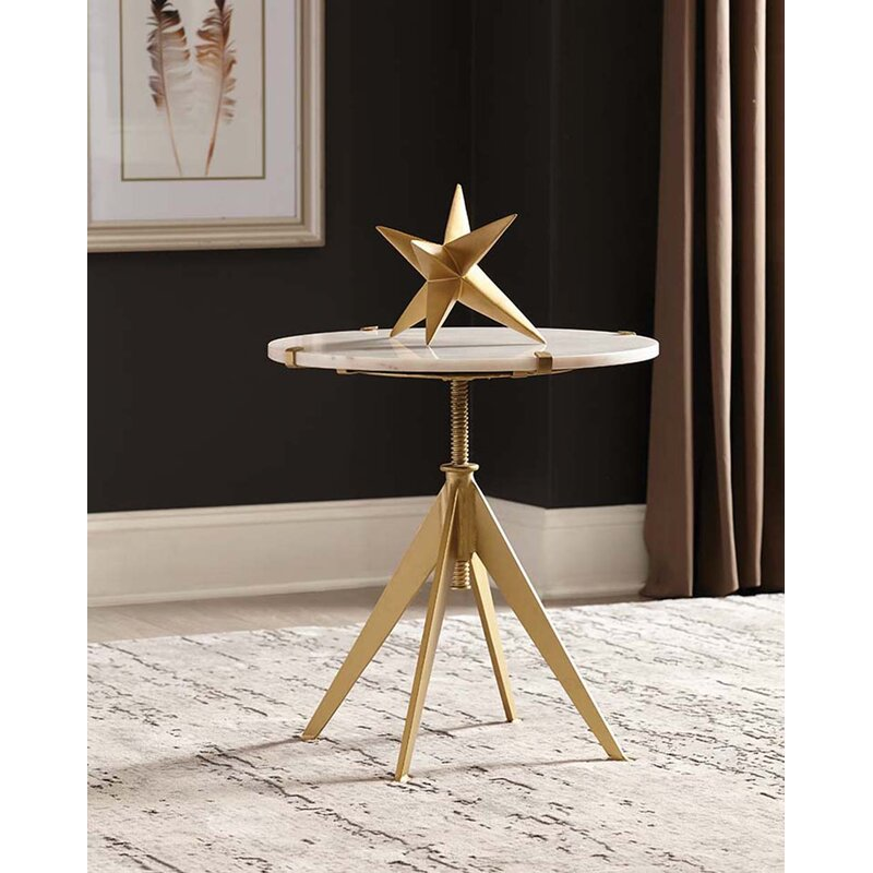 Mercer41 Torney Round Adjustable Accent Table White And Gold Wayfair