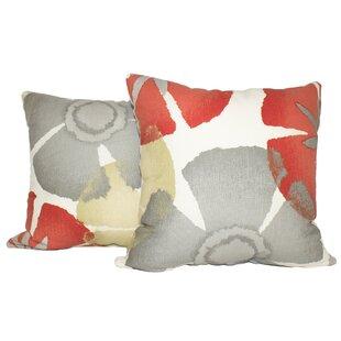 Ewing Precinda Coral Cotton Throw Pillow (Set of 2)