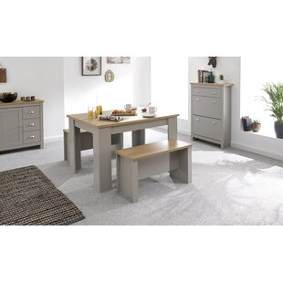 Cavin Dining Set With 2 Benches By Brambly Cottage