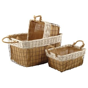 Wicker And Metal 3 Piece Basket Set By August Grove