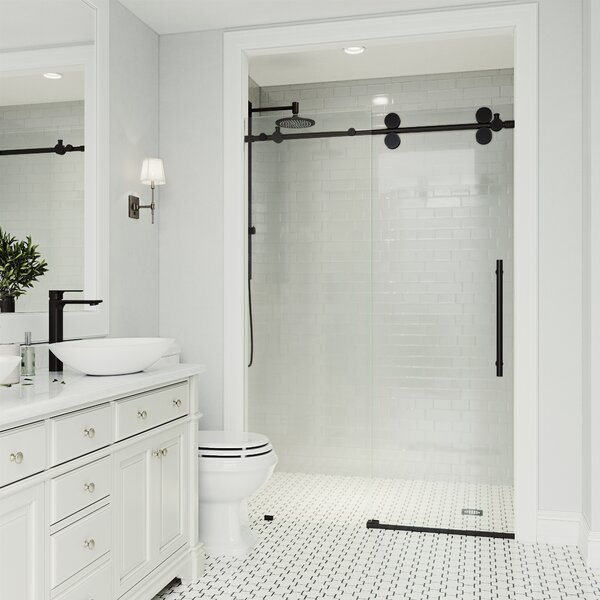 Elan Adjustable 72 X 74 Single Sliding Frameless Shower Door With Rollerdisk Technology