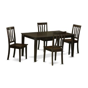 Smyrna 5 Piece Solid Wood Dining Set by Charlton Home 2019 Coupon