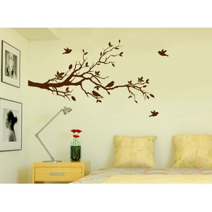 Tree Branches With Leaves And Love Birds Nursery Wall Decal