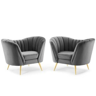 Laredo Performance Velvet Armchair Set of 2 by Everly Quinn