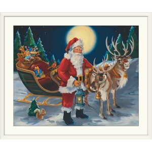 'Christmas Art 'Santa with Lantern' by Susan Comish Painting Print