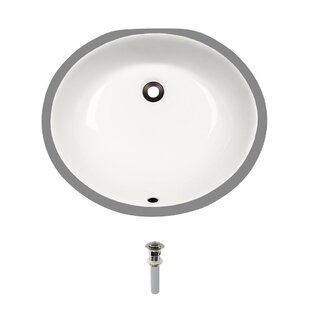 Vitreous China Oval Undermount Bathroom Sink with Overflow And Drain Assembly ByMR Direct