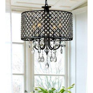 House of Hampton Mckamey Round 4-Light Crystal Chandelier