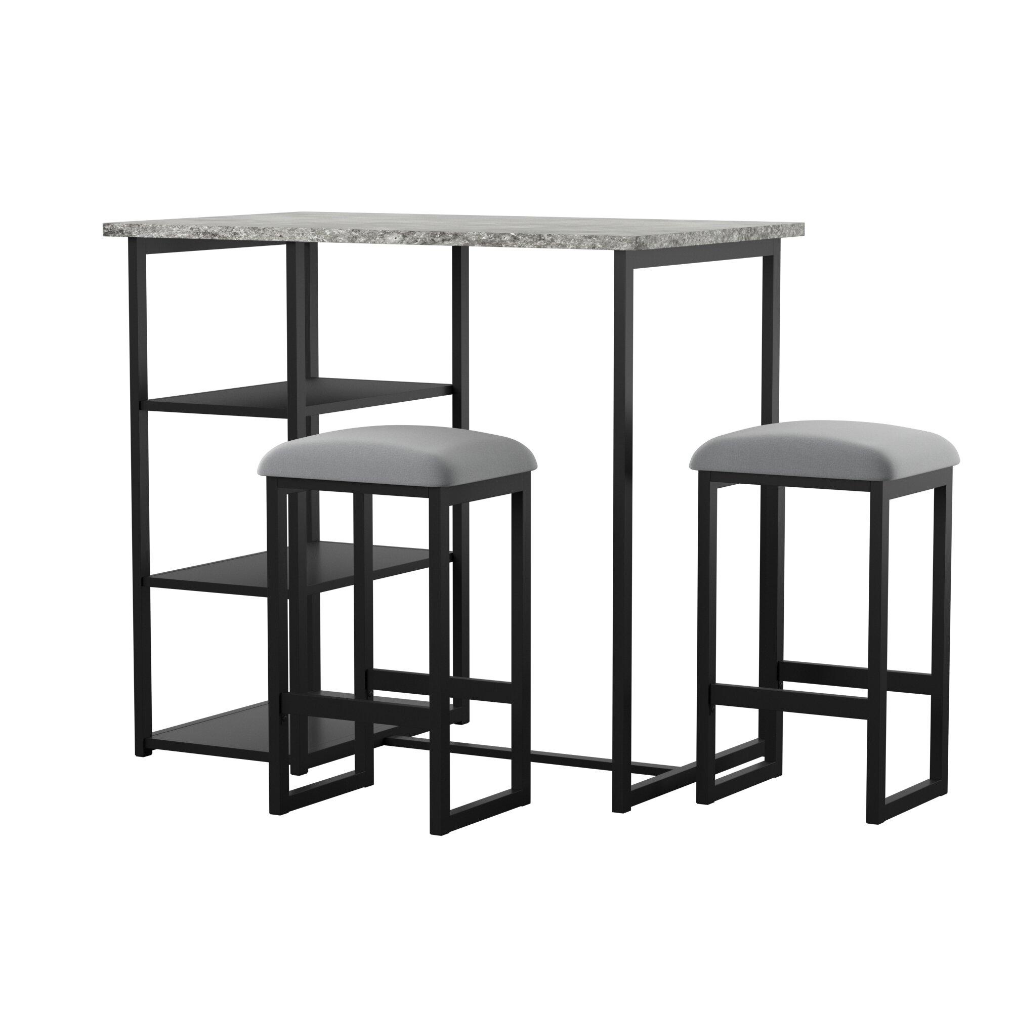 Swell Denham 3 Piece Gray Pub Table Set Spiritservingveterans Wood Chair Design Ideas Spiritservingveteransorg