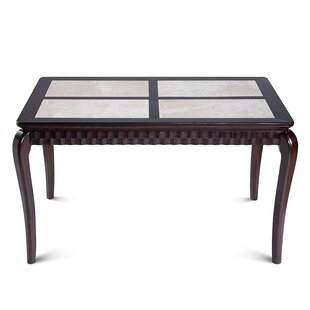 Miesha Natural Marble Top Wood Dining Table