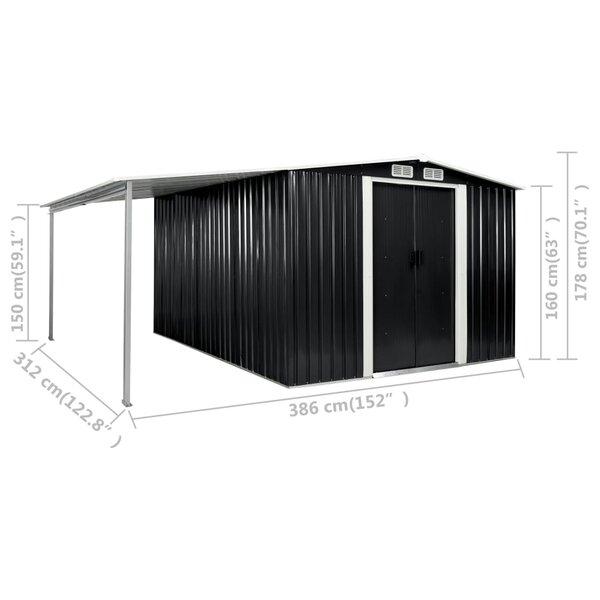 Vidaxl Garden 12 Ft 8 In W X 10 Ft 3 In D Metal Storage Shed Wayfair