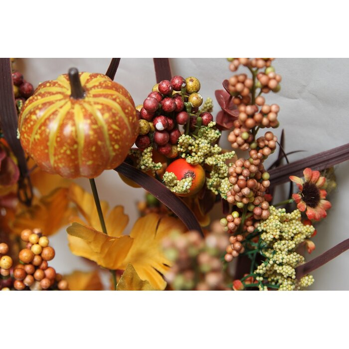 12 Artifical Pumpkins Berries Leaves Filler Fall Harvest Bush For Halloween Or Thanksgiving Decoration Arrangement
