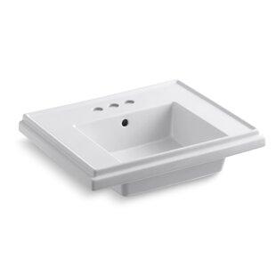 Tresham® Ceramic 24 Pedestal Bathroom Sink with Overflow Kohler