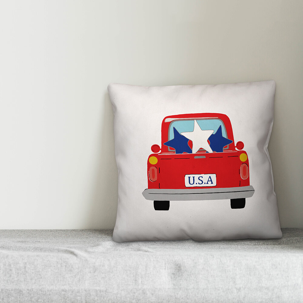 August Grove Ickes Usa Vintage Truck Throw Pillow Wayfair
